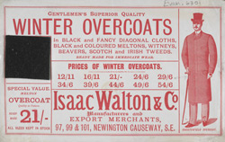 Advertisement for Isaac Walton & Co, gentlemen's clothing manufacturer